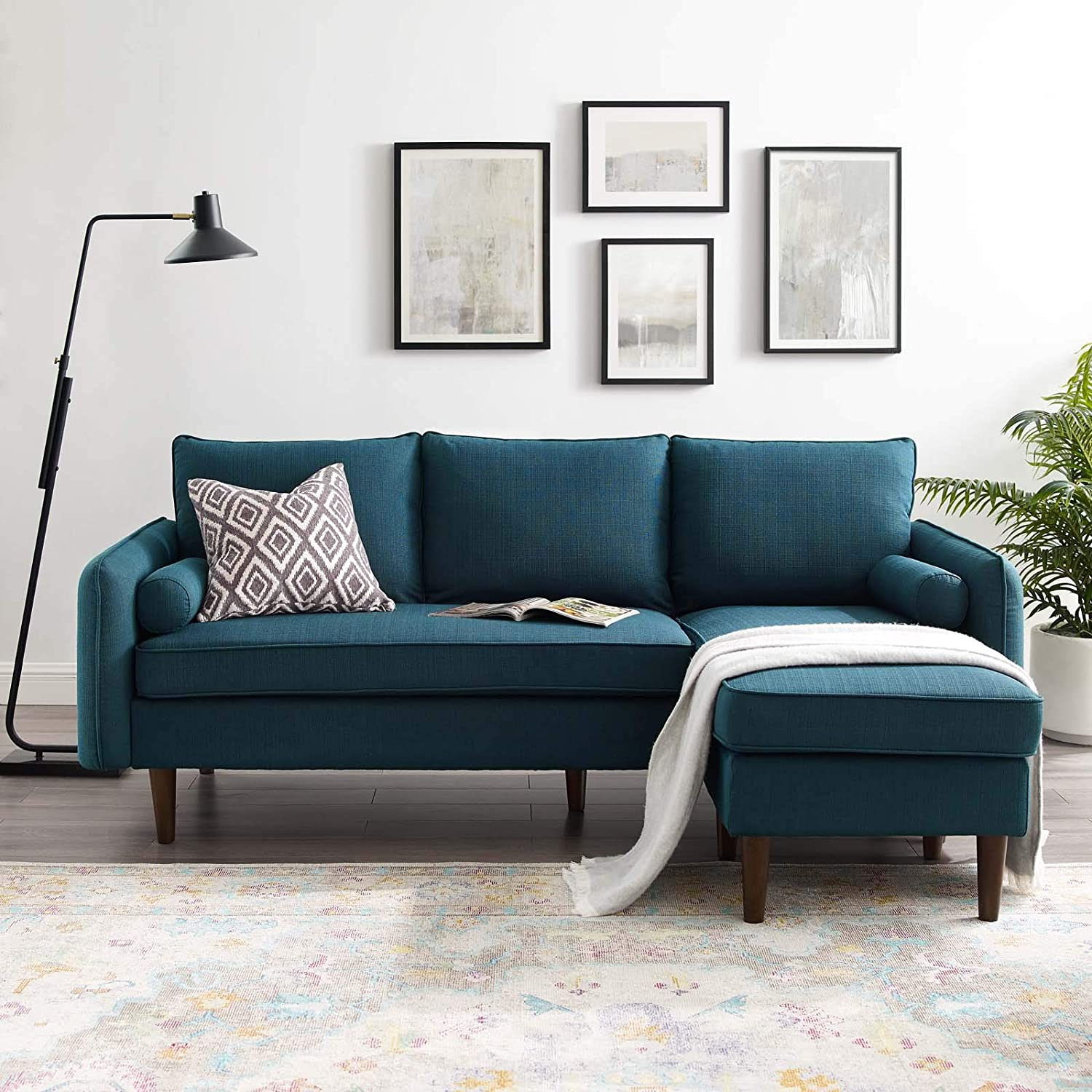 Modway Revive Modern Upholstered Fabric Right or Left Sectional Sofa Couch, Azure