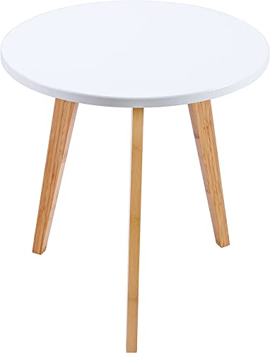WILSHINE Small Round End Table for Small Spaces in Living Room Bedroom White Natural, 15.5 Inch