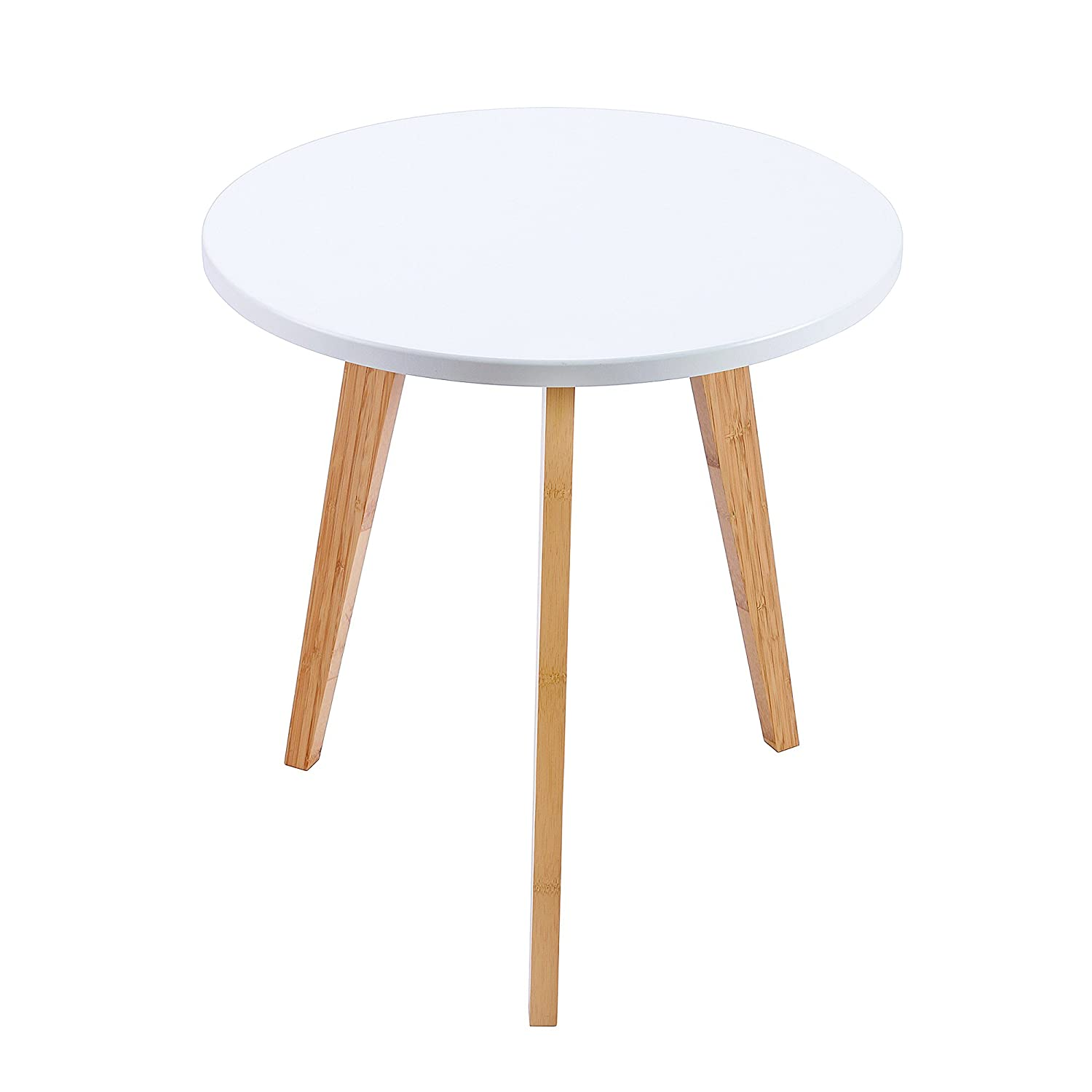 Amazon com wilshine small round end table for small spaces in living room bedroom with white table top and 3 natural bamboo legs kitchen dining
