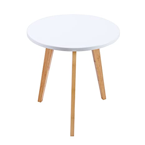 Com Wilshine Small Round End Table For Es In Living Room Bedroom With White Top And 3 Natural Bamboo Legs Kitchen Dining