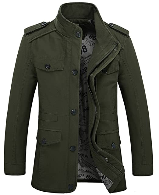 3c59c90f4 chouyatou Men's Casual Washed Canvas Cargo Jacket Coats: Amazon.com ...
