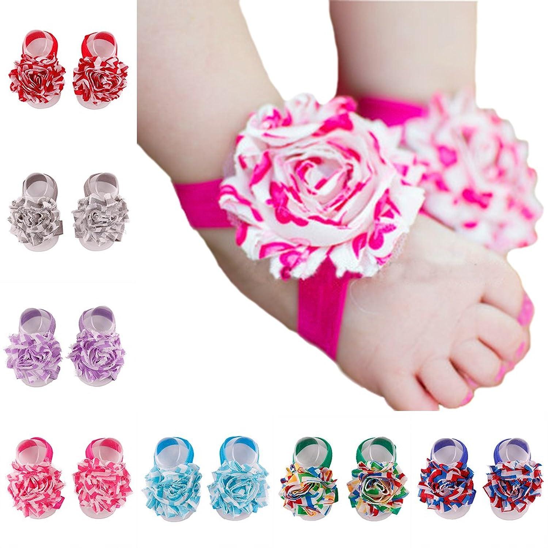 Amazon ZHW Baby Girl s Barefoot Sandals Flower Set of 10