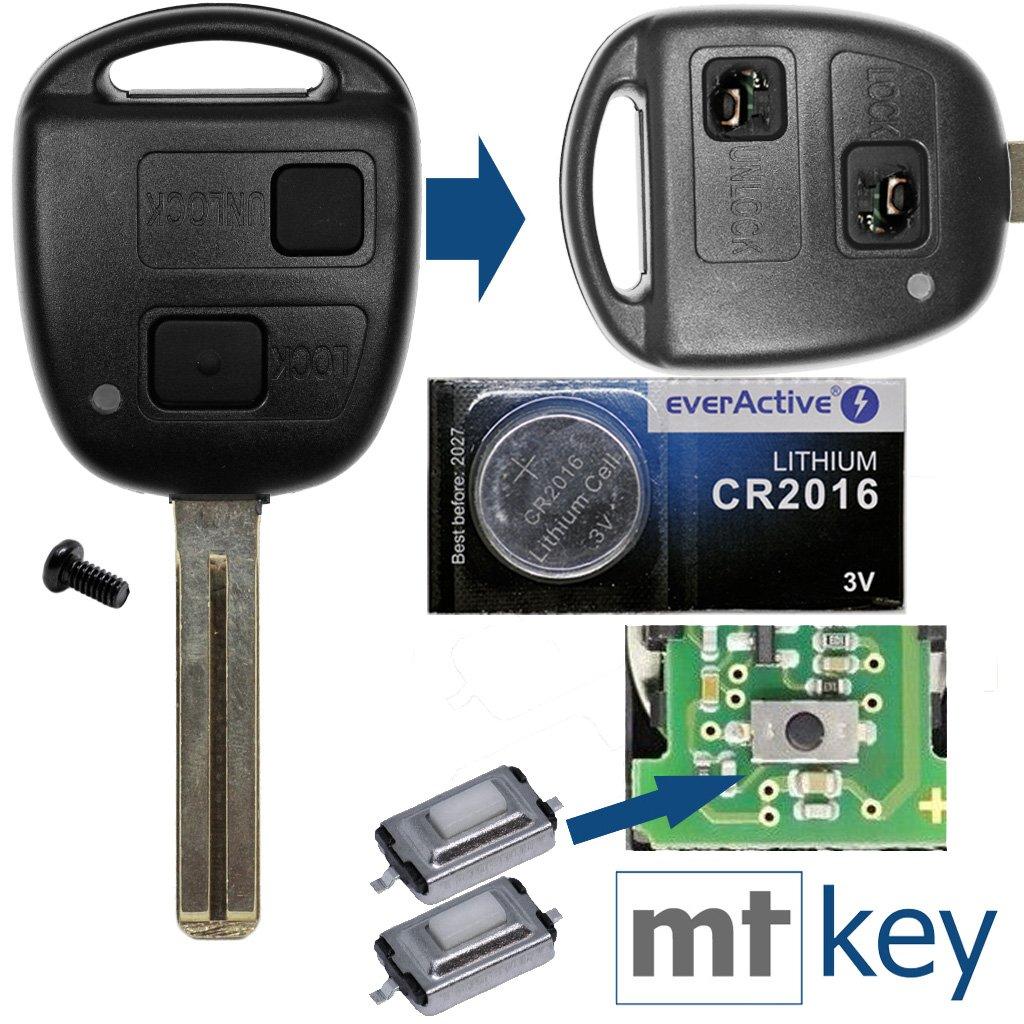 1/x bouton de 2/x mikrotaster 1/x CR2016/Batterie pour Toyota Voiture Cl/é T/él/écommande 1/x Boitier 2/boutons toy43/