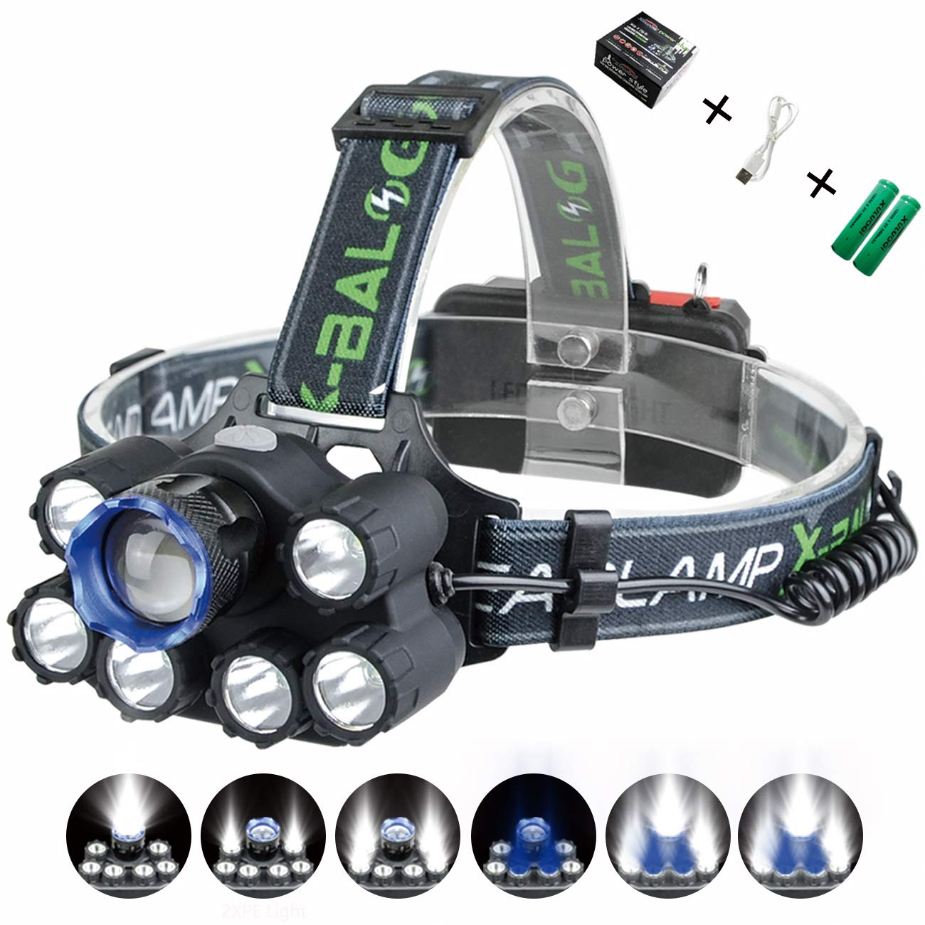 XULUOQI Headlamp, Brightest LED Headlamp,USB Rechargeable Headlamp Flashlight - 8000 Lumens Waterproof and Comfortable Headlamp 7-Light 6-Mode Super Bright Outdoor Camping Fishing Headlamp