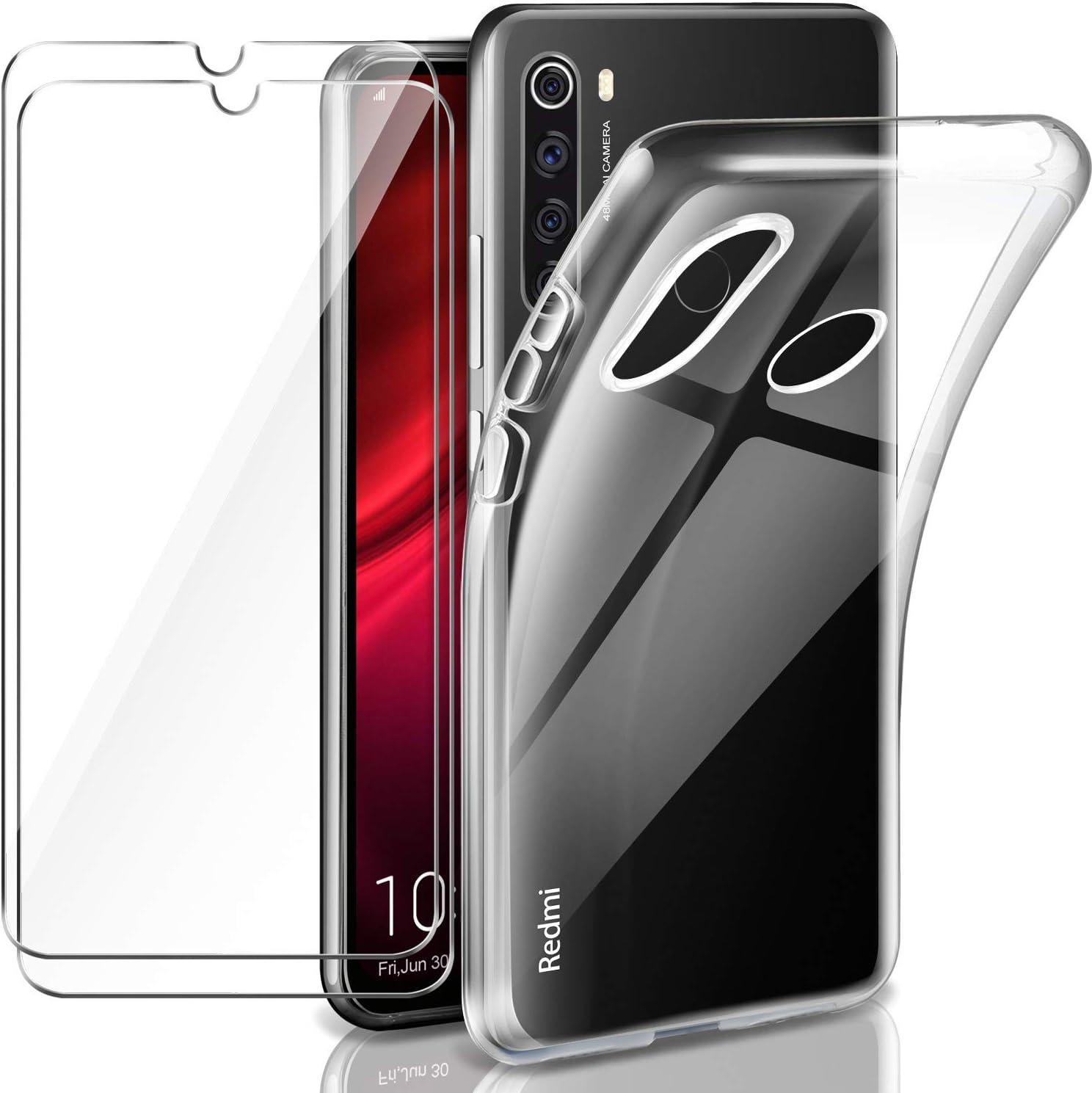 Transparente TPU Silicona Funda Cristal Vidrio Templado Protector de Pantalla y Caso Xiaomi Redmi Note 8T 2 x Protector de Pantalla Xiaomi Redmi Note 8T Leathlux Funda Xiaomi Redmi Note 8T