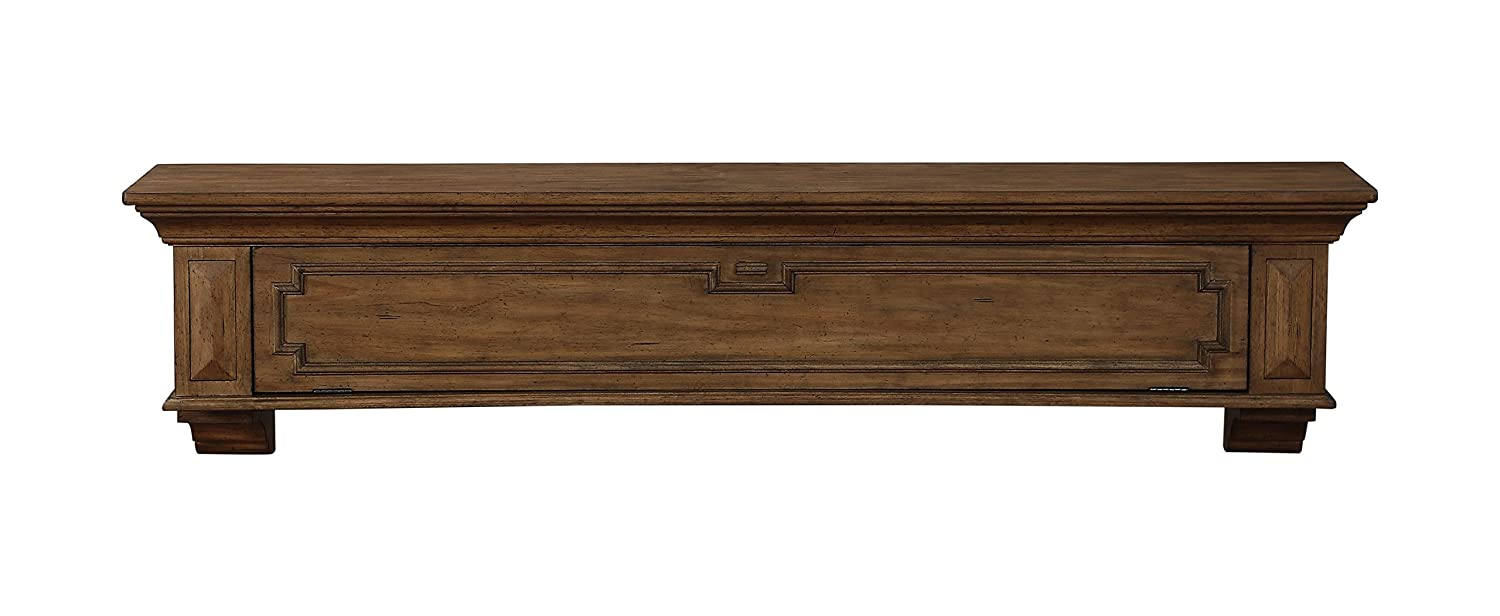 Pearl Mantels Thomas Drop Front Storage Shelf, 48-Inch, Finished Lightly Distressed 430-48-15