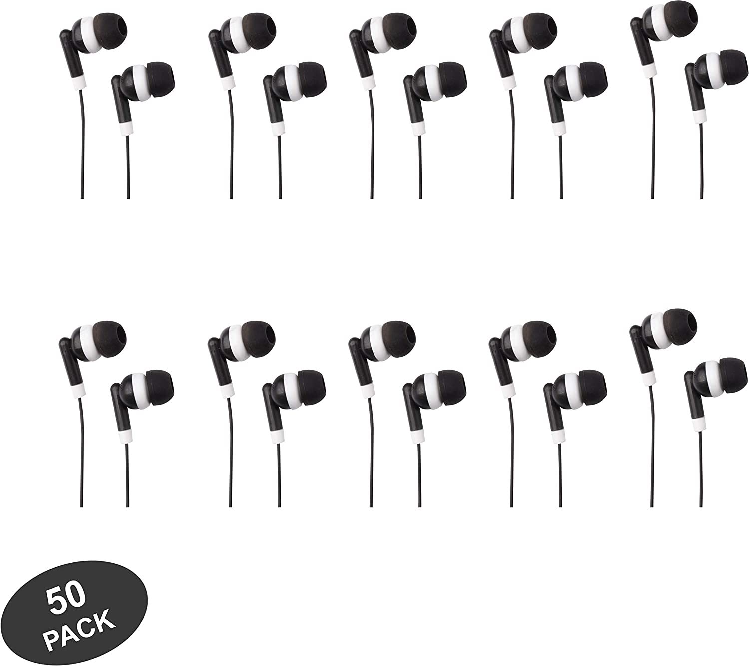 JustJamz Basic Dot Headphones Black in-Ear Earbud Headphones for Apple Android Laptop PC Mac Bulk Earbuds for Students Kids Classroom, 50 Pack