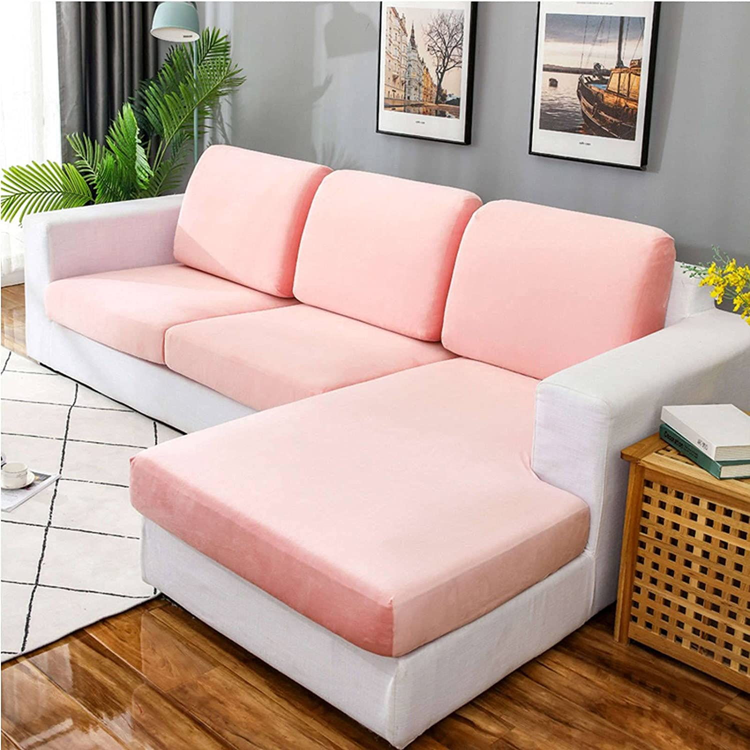 MOSU Velvet Stretch Couch Cushion Cover Sofa Slipcover for L-Shaped Sofa Chaise Longue, 1 2 3 Cushion Couch Sofa Cover Soft Furniture Protector-Pink-XL Chaise Longue