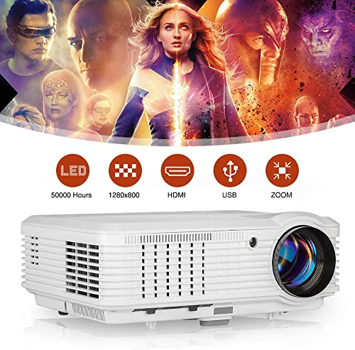 WIKISH HD Home Projector 4600 Lumen,USB HDMI Projector Support 1080P 150 Inch Display Zoom for Indoor Outdoor Movie Gaming PC PS4 Laptop DVD TV Box