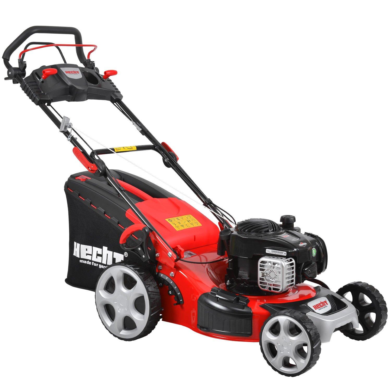 HECHT Benzin-Rasenmäher 5494 SB Briggs & Stratton Benzin-Mäher (4 PS Motorleistung, 46 cm Schnittbreite, 7-fache Schnitthöhenverstellung 25-75 mm, 60 L Fangsack)