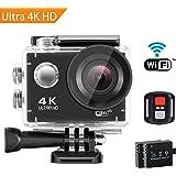 Action Camera 4K Ultra HD, SENDOW Action Cam WIFI 16MP Impermeabile Sport Camera 30M Diving 170 ° Grandangolare Casco Camera con Diverse Modalità Di Scatto, Controllo Remoto e 2 Batterie Ricaricabili