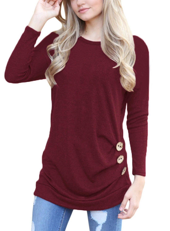 HOTAPEI Womens Long Sleeve Casual Round Neck Loose Tunic Shirts Top Blouse Maroon Medium