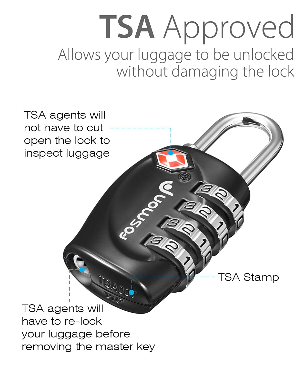 3752274d5a0e Fosmon 4 Digit TSA Approved Luggage locks for Suitcases & Baggage 1,2,3,4  Pack - Black