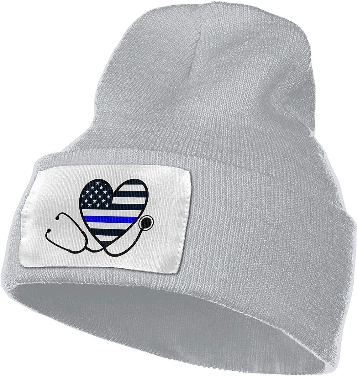 Unisex Winter Hats Thin Blue Line Nurse Stethoscope Nurses Skull Caps Knit Hat Cap Beanie Cap for Men//Womens