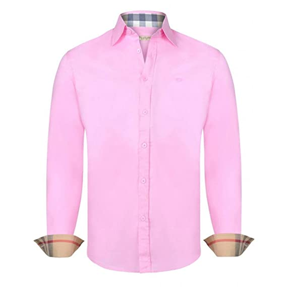 ebdc4a9f BURBERRY Men's Plain Long Sleeve Polo Shirt Pink Pink Large: Amazon ...