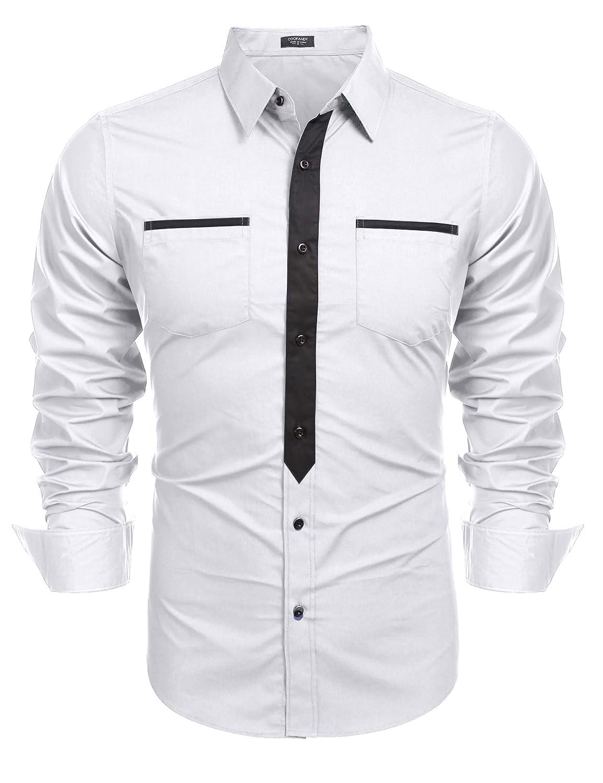Coofandy Mens Formal Long Sleeve Dress Shirt Premium Slim Fit