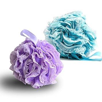G2PLUS 2 Pack Shower Ball, Shower Pouf,Loofahs Sponge,Mesh Exfoliating  Sponge Lace