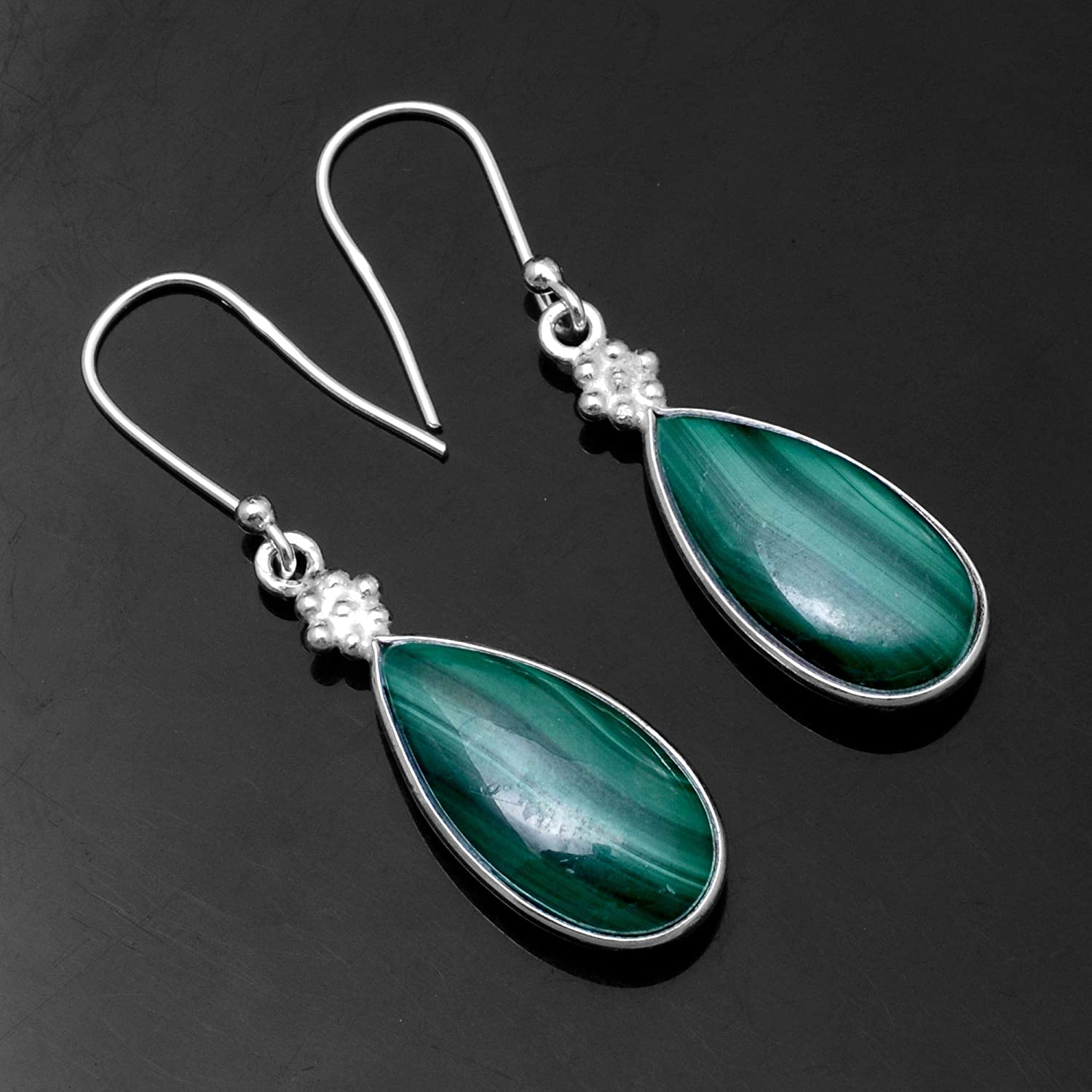 Silver Palace Sterling Silver Malachite Earrings for Womens and Girls