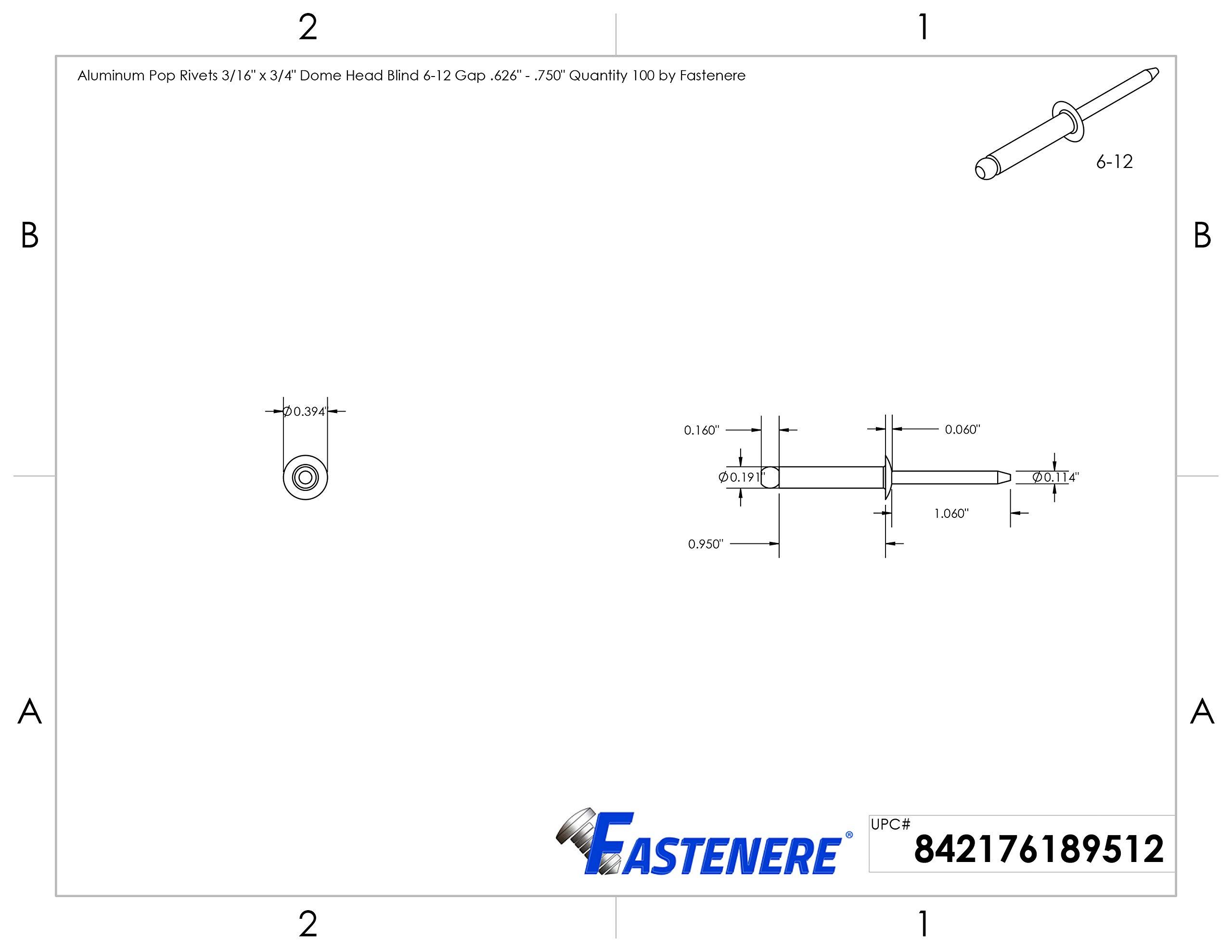 Aluminum Pop Rivets 3/16'' x 3/4'' Dome Head Blind 6-12 Gap .626'' - .750'' Quantity 50 by Fastenere