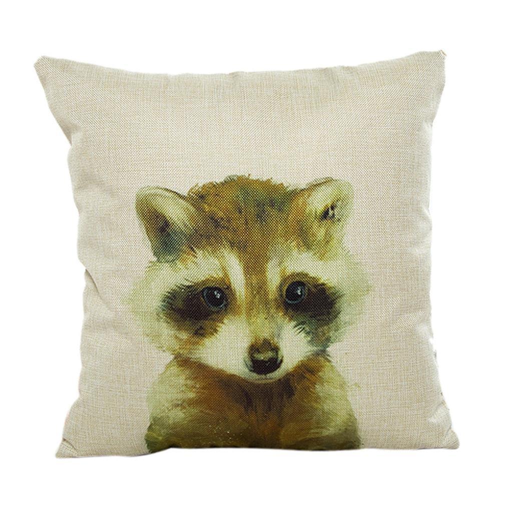 Ninasill Cute Colorful Animal Pillow Case 45cm45cm/1818 Pillow Case (beige 3)