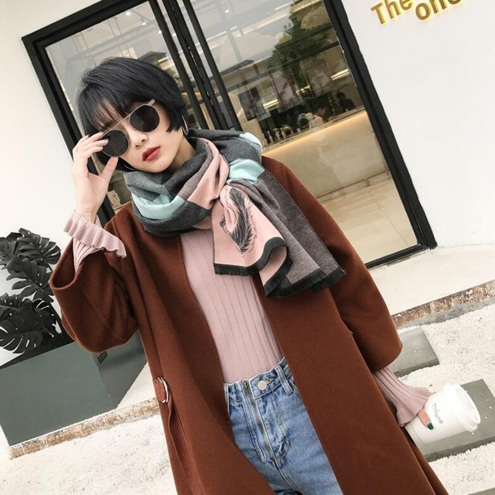 HAIZHEN alla moda alla moda Sciarpe scialli primavera e autunno femminile spessa calda morbida 60 * 200cm Morbido e caldo ( Colore : D )