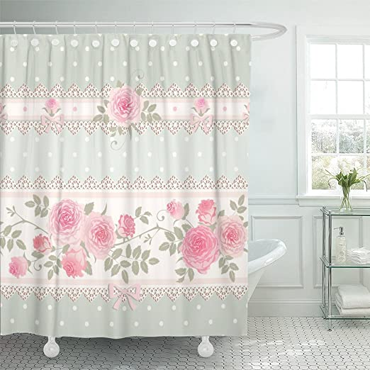 Kitchen Shower Curtain Old Roses Lace Flowers Print for Bathroom