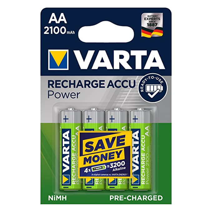 Varta - Pack de 4 Pilas AA Recargables (NiMH, 2100 mAh, precargadas)