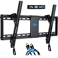 Tilt TV Wall Mount Tilting Bracket for Most 37-70 inch LED, LCD, OLED and Plasma TVs up to VESA 600x400mm and 60 KG, 6 FT HDMI Cable and Torpedo Level Included, MD2268-LK, by Mounting Dream