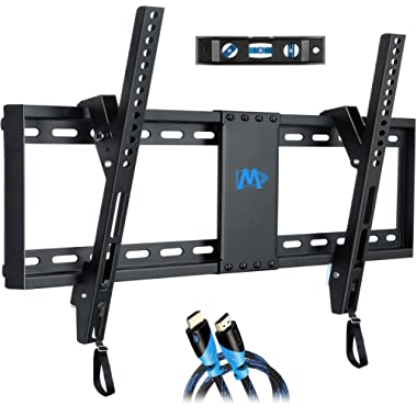 Mounting Dream Tilt TV Wall Mount Bracket for Most 37-70 Inches TVs, TVMount with VESA up to 600x400mm, Fits 16 , 18 , 24  Studs and Loading Capacity 132 lbs, Low Profile and Space Saving MD2268-LK