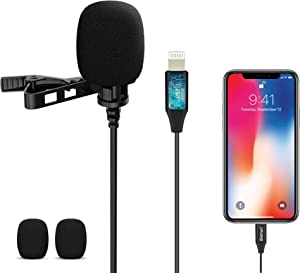 Microphone for iphone, Pro Omnidirectional Condenser iphone Mic, 10 ft, Lavalier Lapel clip on Recording microphone for iphone 12, 11, 11Pro, X, Xr, Xs,Xs Max,8,8 Plus, 7, ipad, asmr(No Pop-Up Window)