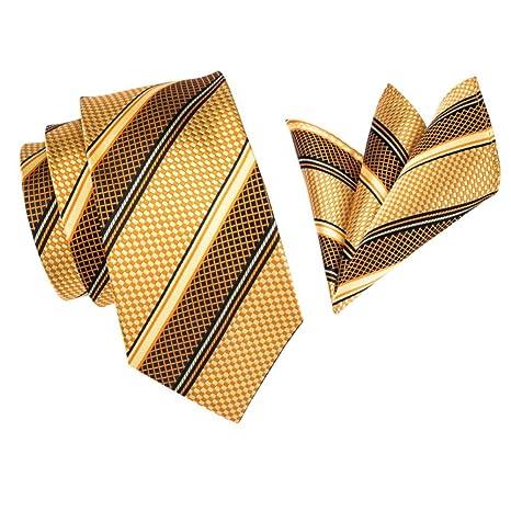 FDHFC Corbata para Hombre, Lujo, Oro Amarillo, Rayas, Seda ...