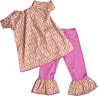 product image for Cheeky Banana Sweet Little Girls Quatrefoil top & Leggings Pink/Yellow