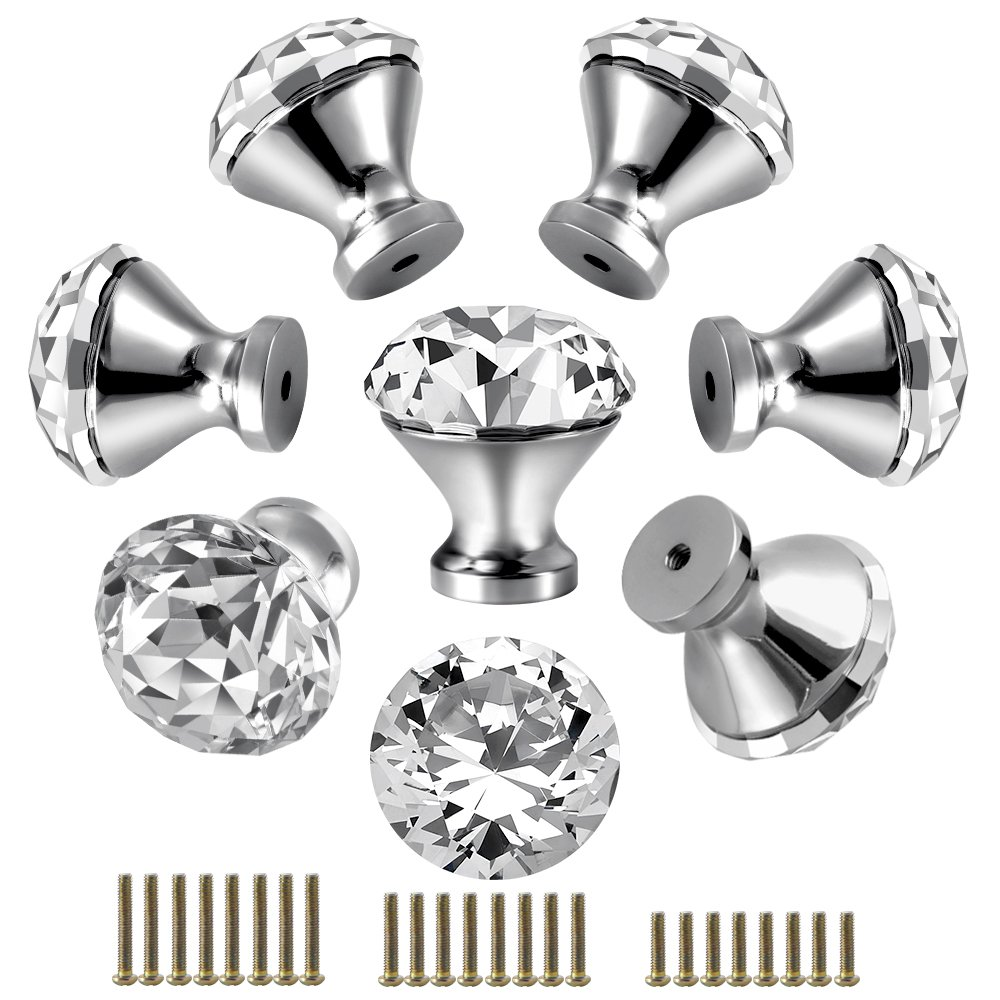 30mm Kitchen Cabinet Knobs Drawer Pull Handle Hardware, Crystal Clear Glass Round Diamond Shape Dresser Closet Bi-fold Door Bathroom Cupboard Desk Nightstand Bookcase Furniture Drawer Knob Set (8 PCS)