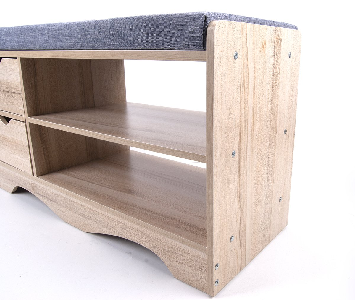 Polar Aurora Storage Bench Storage Hall Wooden Shoe Cabinet with Drawers 2 Level Shoe Storage Rack