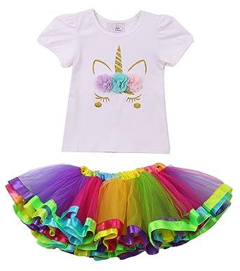11ffd97e6e4 Little Girls 2 Pieces Set Unicorn T-Shirt Top Rainbow Tutu Tulle Dress  Skirt White