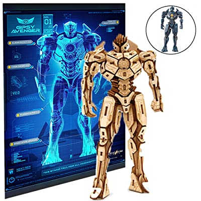 "IncrediBuilds Pacific Rim Uprising Gipsy Avenger Poster and 3D Wood Model Figure Kit - Build, Paint and Collect Your Own Wooden Toy Model - Great for Kids and Adults, 12+ - 6 1/2"" h: Toys & Games"