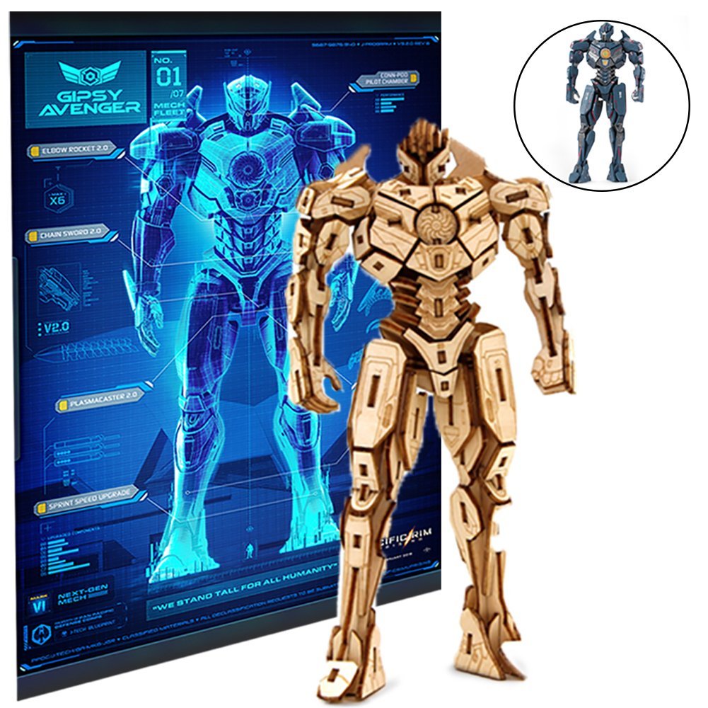Pacific Rim Uprising Gipsy Avenger Poster and 3D Wood Model Kit - Build, Paint and Collect Your Own Wooden Model - Great For Kids and Adults, 12+ - 6 1/2''h