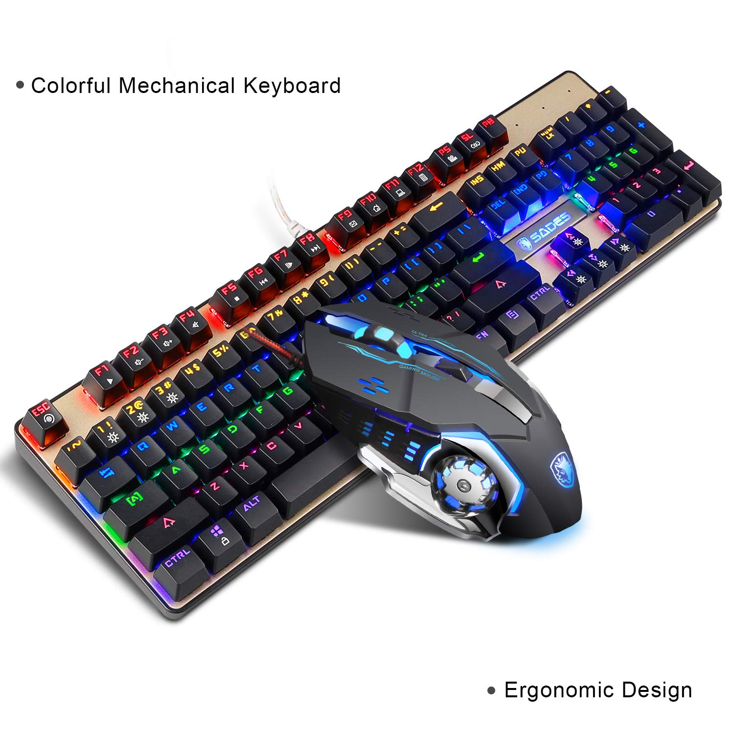 Mechanical Keyboard and Mouse combo,SADES K10 LED Backlit Wired Gaming Keyboard and Mouse Combo, Mechanical Feel with Mutilmedia Keys and Blue Switches for ...
