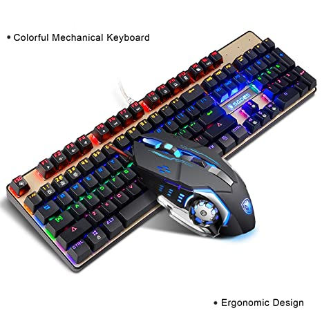 1785eff9078 Sades Mechanical Keyboard and Mouse Combo,SADES K10 LED Backlit Wired Gaming  Keyboard and Mouse
