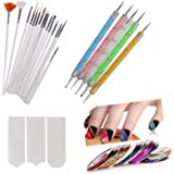 Trexee 3D Nail Art Painting Polish Design Kit with 15 Nail Brushes, 5 Nail Dotting Pen, 10 Adhesive Nail Striping Tape and A French Manicure Tip Sticker Pack of 31 Pieces. Nail Art Paint Kit