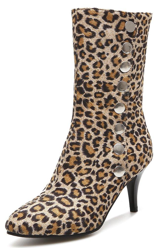 Easemax Damen Modisch Leoparden Muster Nieten Stilettos Pumps Stiefel  33 EU Gelb