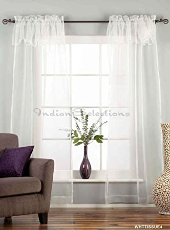 Amazon White Rod Pocket With Attached Valance Sheer Tissue