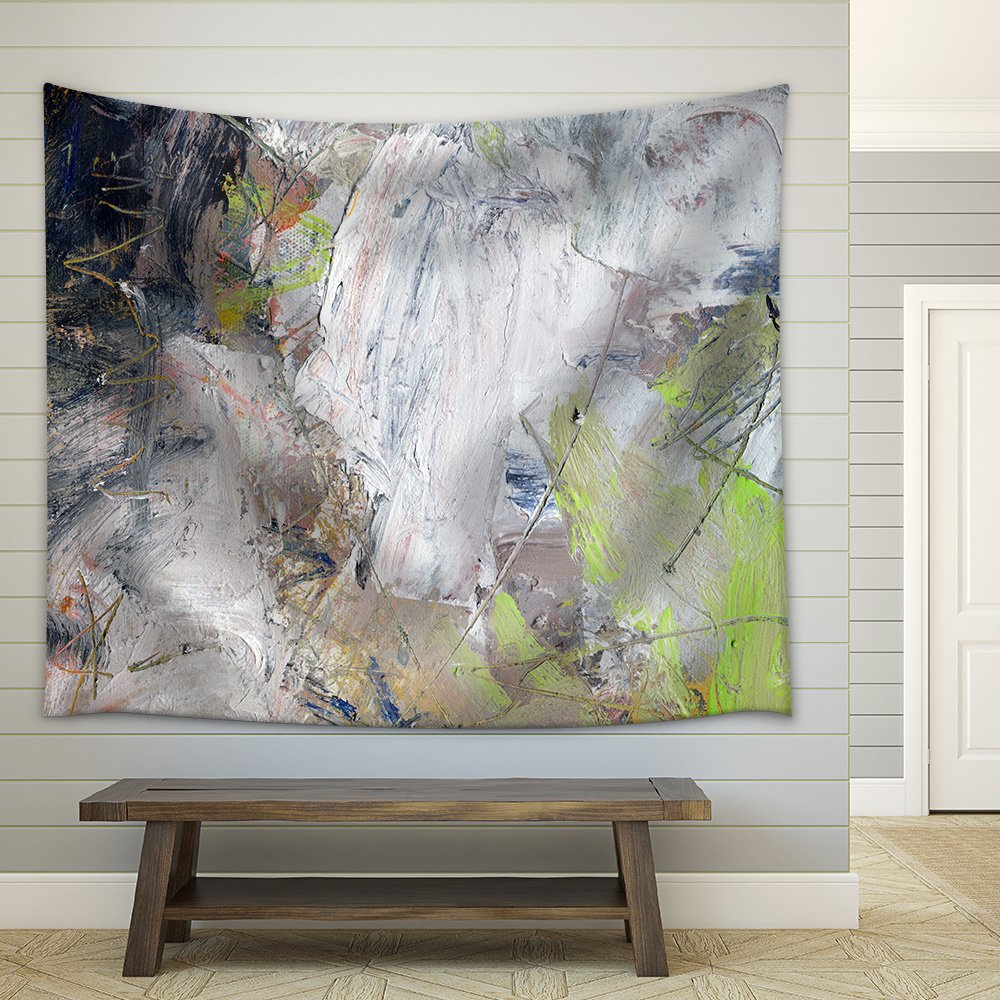 wall26 - Abstract Multicolor Layer Artwork, Opaque and Transparent Oil  Paint Textures on Canvas - Fabric Wall Tapestry Home Decor - 68x80 inches
