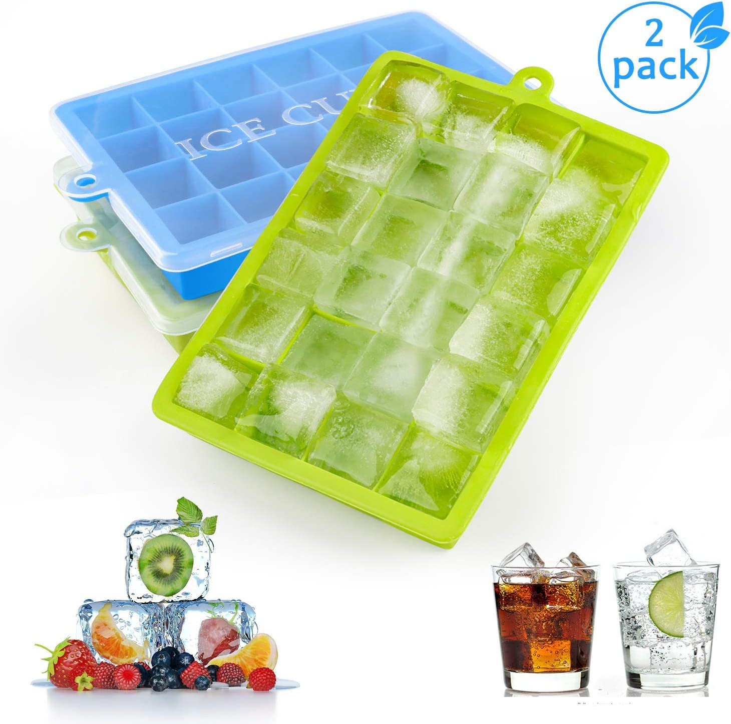 BPA Free Whiskey LFGB Certified Juice Beverages Ice Cube Trays 3 Pack Ice Cube Trays Silicon with Lids Easy Realease Ice Cube Mould 24 Cubes per Tray for Cocktail