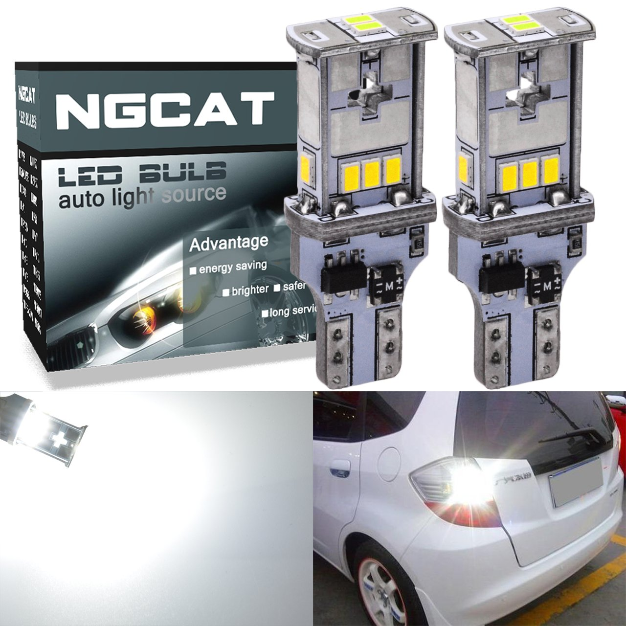 NGCAT 1800 Lumens 10 SMD 3020 CREE T15 921 912 T10 W16W LED Bulbs Used for Automobile Exterior Reverse Light, DC 10-16V Xenon White(2-Pack)