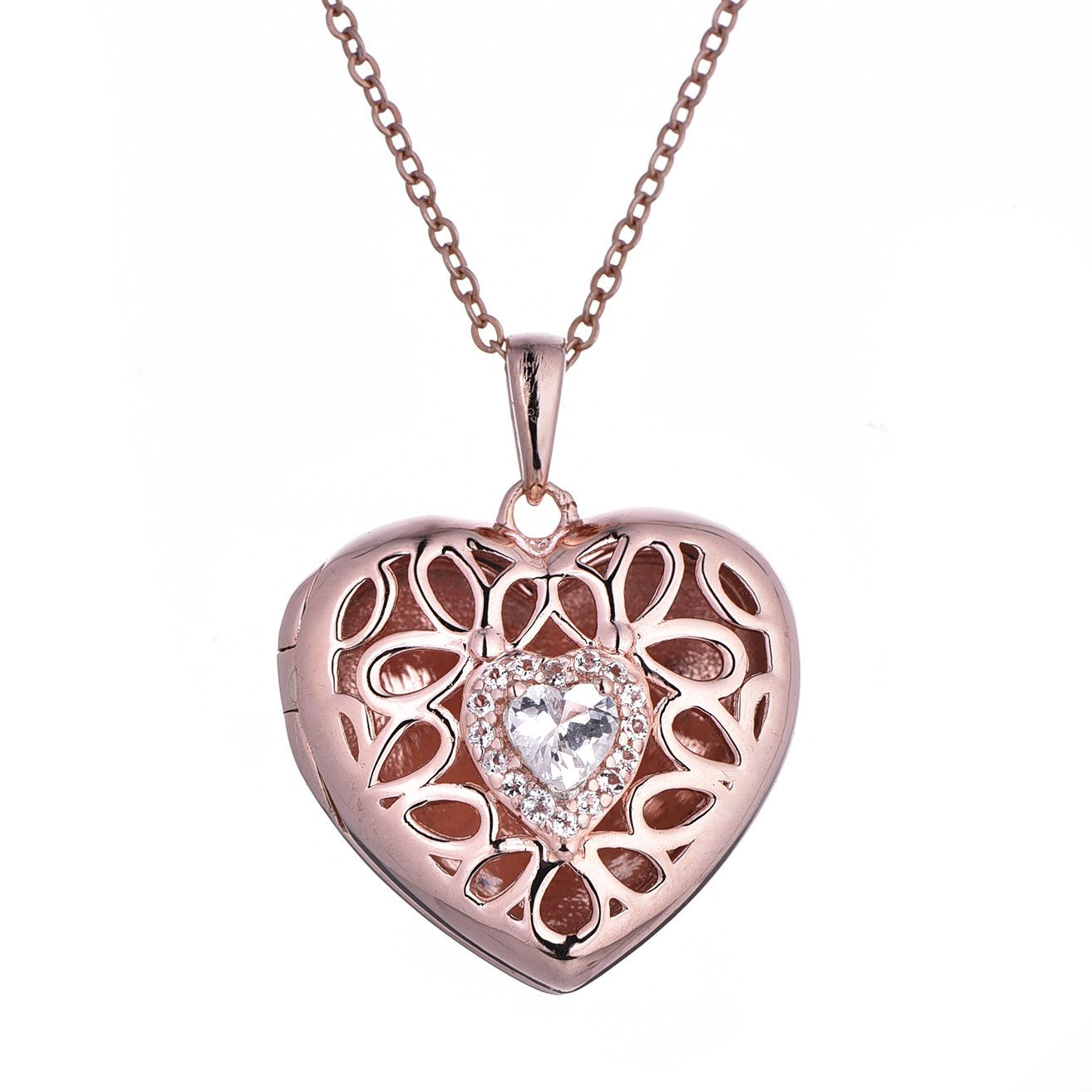With You Lockets Custom Photo Locket Necklace-Heart Pendant-Rose Gold-Topaz-18inch chain-The Katharine