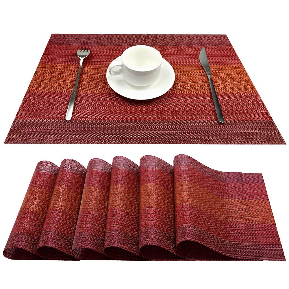YOSICHY Table Mats Set of 4 Crossweave Woven Vinyl Placemats Heat Resistant Non-Slip Kitchen Placemats for Dining Table Washable Easy to Clean White