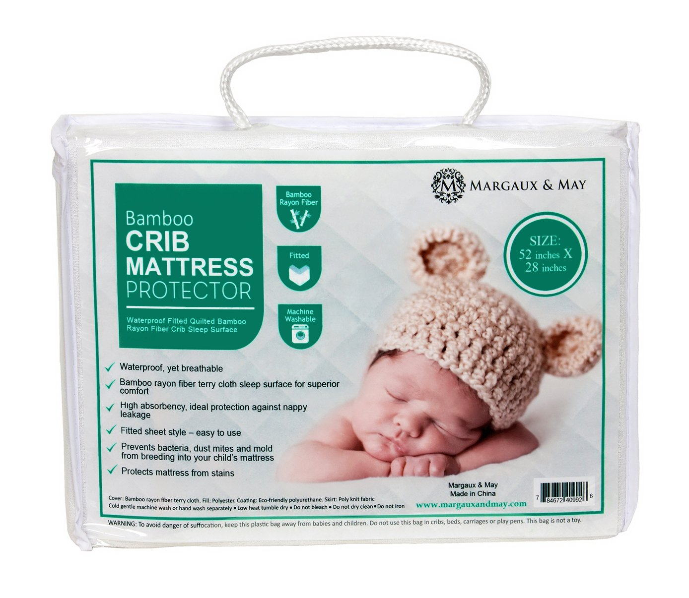 Crib Mattress Protector Pad by Margaux & May - Waterproof, Ultra Soft - Dryer Friendly - Deluxe Bamboo Rayon - Fitted Quilted Pad - Absorbent Stain Protection Baby Cover (Standard Size 52'' x 28'') by Margaux & May