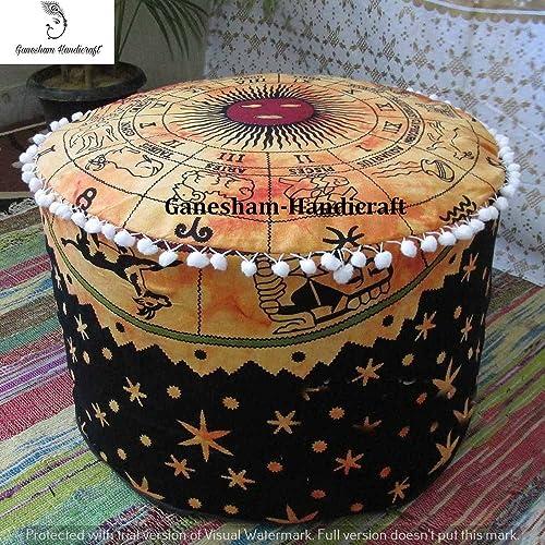 GANESHAM Indian Horoscope Celestial Decorative Ottoman, Mandala Cushion Cover Bohemian Decor Home Living Room Decor Indian Pouf Round Handmade Mandala Pouf Cover Only