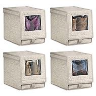 mDesign Fabric Home Storage Box Bin - Clear Window, Hinged Lid - Holder for Men's and Women's Dress Shoes, Boots, Pumps, Sandals, Flats - Modern Closet Organizer Solution - Medium, 4 Pack - Linen/Tan